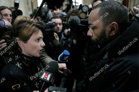 Charlie Hebdo Journalist Caroline Fourest Argues with Actor Dieudonne While Waiting to Attend the Trial Being Held Against the French Magazine Charlie Hebdo For Having Published Cartoons Deemed to Be Offensive For the Moslems in Paris France Thursday 08 February 2007 the Cartoons First Published in Denmark a Year Ago Caused Violent Reactions Through the Moslem World