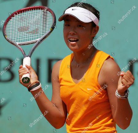 Japanese Ayumi Morita Celebrates After Winning the Girls Singles Quarter Final Match Against Dutch Bibiane Schoofs at the French Open in Roland Garros Paris Thursday 02 June 2005