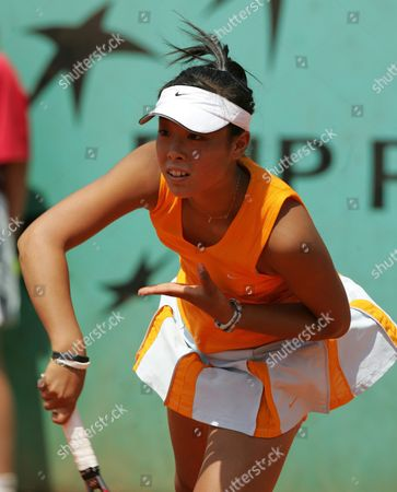 Japanese Ayumi Morita Serves During the Girls Singles Quarter Final Match Against Dutch Bibiane Schoofs at the French Open in Roland Garros Paris Thursday 02 June 2005