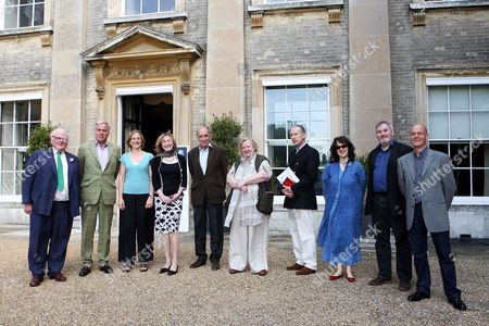 L-R; James Miller, Paul Blezard, Tracy Chevalier, Miranda Seymour, General Sir Mike Jackson, Clarissa Dickson Wright, Allan Mallinson, Suzi Feay, Paul Stewart and Chris Riddell