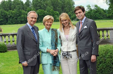 Archduchess Marie-Christine of Austria with her parents Archduke Christian of Austria and the Archduchess Marie-Astrid and her husband-to-be, Count Rodolphe of Limburg Stirum