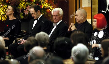 (l-r) Russian Ballerina Maya Plisetskaya Us Musician Steve Reich German Architect Frei Otto French Artist Christian Boltanski and Japanese Painter Kusama Yayoi During the Ceremony For the 18th Praemium Imperiale Medal in Tokyo Wednesday 18 October 2006 the Praemium Imperiale is a Global Arts Prize Awarded by the Japan Art Association to Artists For Their Achievement in Five Fields: Painting Sculpture Music Architecture Theatre and Film