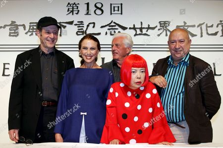 (l to R) Us Musician Steve Reich Russian Ballerina Maya Plisetskaya German Architect Frei Otto Japanese Painter Kusama Yayoi and French Artist Christian Boltanski Pose For a Group Photo at the Press Conference Presenting the Laureates of the 18th Praemium Imperiale in Tokyo Tuesday 17 October 2006 the Praemium Imperiale is a Global Arts Prize Awarded by the Japan Art Association to Artists For Their Achievement in Five Fields: Painting Sculpture Music Architecture and Theatre/film