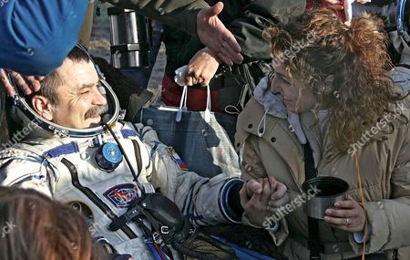 Russian Cosmonaut Mikhail Tyurin Speaks with U S Entrepreneur and the World's First Female Space Tourist Anousheh Ansari (r) Shortly After the Landing of the Russian Souyz Tma-9 Space Capsule About 500km South-west From Kazakh Town of Karaganda 21 April 2007 Soyuz Tma-9 Space Capsule Carrying Russian Cosmonaut Mikhail Tyurin U S Astronaut Miguel Lopez-alegria and U S Space Tourist Charles Simonyi Landed Safely in Kazakh Step On 21 April