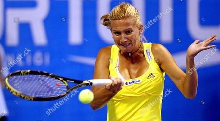Marta Domachowska of Poland Returns to Aravane Rezai of France During Their Match at Istanbul Cup 2009 Wta Tournament at Enka Arena in Istanbul Turkey 29 July 2009