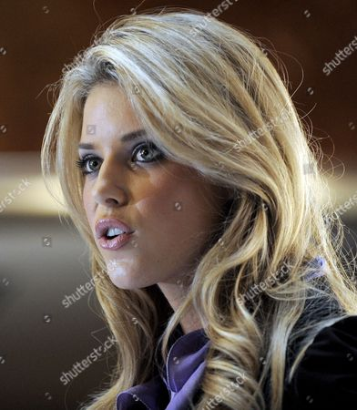 Stock Image of Miss California Carrie Prejean Speaks During a Press Conference where Us Entrepreneur Donald Trump Who Owns the Miss Usa Pageant Announced That Prejean Can Retain Her Title As Miss California in New York New York Usa On 12 May 2009 Prejean Failed to Reveal That She Had Posed in Her Underwear As a Teenager Before Last Month's Miss Usa Pageant