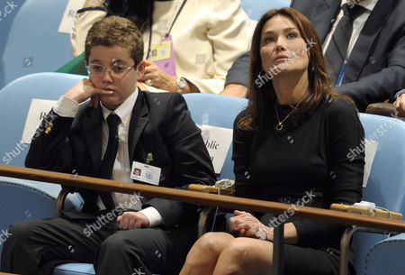 Carla Bruni (r) and Louis Sarkozy Listen to Nicolas Sarkozy President of France Speak During the 64th General Debate of the United Nations General Assembly at United Nations Headquarters in New York New York Usa On 23 September 2009 Louis is Sarkozy's Son