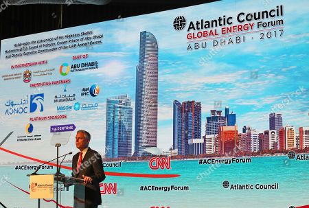 """Stock Picture of Jon Meade Huntsman Jr., Chairman of Atlantic Council, speaks at the Atlantic Council Global Energy Forum in Abu Dhabi, United Arab Emirates, . OPEC Secretary-General Mohammad Sanusi Barkindo said at the forum Thursday that he remains """"confident"""" that the cartel and outside members will stick to an agreement to cut production to help boost oil prices. The comments by Barkindo of Nigeria come as the cartel and nonmembers try to stick to the landmark deal after oil prices collapsed last year"""