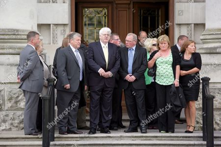 Michael Gallagher (centre White Hair) Who Lost His Son Aiden in the Omagh Bomb Arrives at Belfast High Court June 8th 2009 with Other Family Members Judgement is Expected Later in the Multi-million Pound Civil Case Brought by the Families of Some of the Omagh Bomb Victims Mr Justice Morgan Will Give His Verdict Against Five Men Being Sued Over the 1998 Real Ira Atrocity No-one Has Ever Been Convicted For the August 1998 Bomb Which Killed 29 People - Plus Unborn Twins in a Lawsuit Which Made Legal History Some of the Bereaved Are Seeking an Order For Damages They Claim the Five Men Including Jailed Dissident Republican Chief Michael Mckevitt Can All Be Held Responsible Each Has Denied Liability
