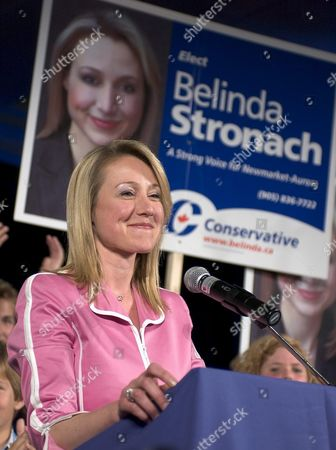 Conservative Candidate Belinda Stronach Enjoys Her Win in Canada's Federal Election Late Monday 28 June 2004 in Her Home Riding of Newmarket-aurora Stronach Former Ceo of Magna International Won by 625 Votes Stronach's Conservative Party Finished Second Overall with the Liberal Party Being Returned to Power with a Minority Government