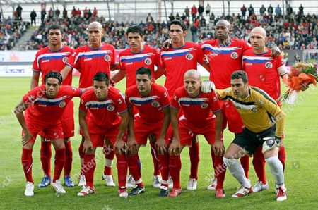 The Family Photo of the National Soccer Team of Costa Rica Just Before Their Match Against Czech Republic As Preparation For Word Cup 2006 in Jablonec Nad Nisou On Tuesday 30 May 2006 From Left to Right Ronald Gomez Douglas Sequeira Mauricio Solis Leonardo Gonzalez Paulo Wanchope Marin Luis (lower Row L-r) Walter Centeno Gilberto Martinez Michael Umana Dany Fonseca and Alvaro Mesen (gk)