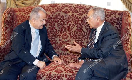 Egyptian Ahmed Abul Gheit (l) Meets with His Jordanian Counterpart Abdelilah Al-khatib (r) at the Foreign Ministry in Cairo Egypt 10 May 2007 Saudi Arabia Has Relaunched Its Arab Peace Initiative with the Arab Quartet's Egypt and Jordan Carrying out Contacts with Israel the Two Arab Ministers Later Met with Israeli Foreign Minister Tzipi Livni