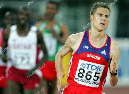 Swiss Christian Belz Competes in the Men's 10 000m Final at the 10th Iaaf World Championships in Athletics Helsinki Finland Monday 08 August 2005 Ethopian Kennenisa Bekele Won Ahead of Compatriot Sileshi Sihine and Moses Mosop of Kenya Finland Helsinki