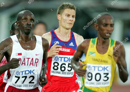 Swiss Christian Belz (c) Competes in the Men's 10 000m Final at the 10th Iaaf World Championships in Athletics Helsinki Finland Monday 08 August 2005 Ethopian Kennenisa Bekele Won Ahead of Compatriot Sileshi Sihine and Moses Mosop of Kenya Finland Helsinki