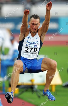 Tommi Evila of Finland Leaps During His Attempt in the Men's Long Jump Final at the 10th Iaaf World Championships in Athletics Helsinki Finland Saturday 13 August 2005 Finland Helsinki