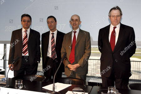 French President of Airbus and Co President of Heads Louis Gallois (2-r) is Joined by Hans Peter Ring (l) Fabrice Bregier (2-l) Geoff Lloyd (r) at the Announcement of the Plan Power 8 at a Press Conference in Colomiers France Wednesday 28 February 2007