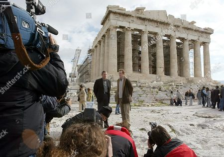 British Athletes Former Olympic Winners- Sprinter Alan Wells (l) and High Jumper Steve Smith Pose For the Media in Front of the Parthenon Temple at the Acropolis Archaeological Site Tuesday 11 November 2003 the Two Athletes Went to Acropolis and Talked to the Media to Support the Initiative to Return the Parthenon Marbles Back to Greece Epa/louisa Gouliamaki