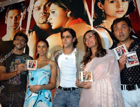 (from Left to Right) Bollywood Stars Milind Soman Gul Panang Hrithik Roshan Lara Dutta and Bobby Deol Smile During the Presentation of the Newly Released Music Cd of the Hindu Film ''juram'' Or Crime Bombay Saturday 08 January 2005