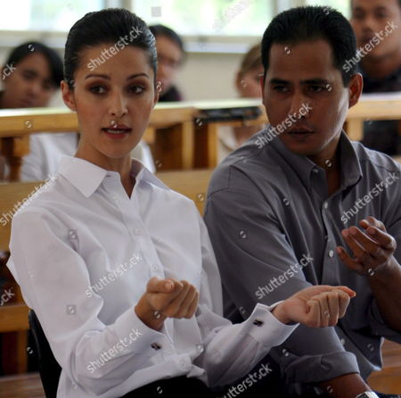 Australian National Michelle Leslie with Her Lawyer During Her Drugs Trial at Denpasar District Court in Bali Indonesia On Friday 11 November 2005 Leslie a Model Was Arrested in Bali After Police Said They Found the Party Drug Ecstasy in Her Bag