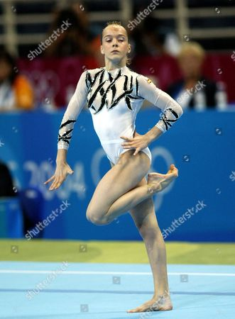 Elena Gomez of Spain Performs During the Women's Qualification Round On the Floor As Part of the Gymnastics at the Athens 2004 Olympic Games at the Hellinikon Indoor Arena Sunday 15 August 2004 Epa Louisa Gouliamaki