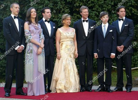 Stock Picture of (l - R) Luxembourg's Prince Louis Princess Alexandra Crown Prince Guillaume Grand Duchess Maria Teresa Grand Duke Henri Prince Sebastian and Prince Felix Pose For Photographers Before a Dinner Celebrating Grand Duke Henri and Grand Duchess Maria Teresa's Silver Wedding at the Berg Castle in Luxembourg Saturday 01 July 2006