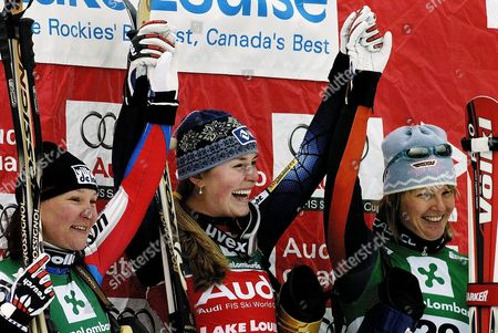 Lindsay Kildow Usa (c) Along with Carole Montillet-carles France (l) and Hilde Gerg Germany (r) On the Podium at the Women's World Cup Downhill Here in Lake Louise Alberta Friday 03 December 2004 Lindsey Kildow of the U S Won the Race with a Time One Minute 23 44 Seconds Followed by France's Carole Montillet-carles in Second with a Time of One Minute 23 63 Seconds and Germany's Hilde Gerg in Third with a Time of One Minute 23 69 Seconds