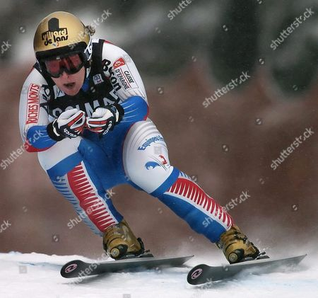 Carole Montillet-carles of France in Action at the Women's World Cup Downhill Here in Lake Louise Alberta Canada Saturday 04 December 2004 Montillet-carles Placed Third in the Event Behind Germany's Hilde Gerg Who Placed First