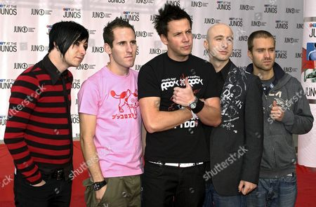 Rock Band Simple Plan Arrives On the Red Carpet at the Juno Music Awards in Winnipeg Canada Sunday 03 April 2005 From Left: David Desrosiers Chuck Comeau Pierre Bouvier and Sebastien Lefebvre