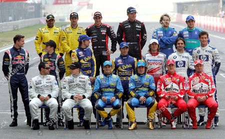 Formua One Drivers 1st Line (l-r) Columbian Juan Pablo Montoya Finnish Kimi Raikkonan of Mclaren Mercedes; Italian Giancarlo Fisichella Spanish Fernando Alonso of Renault; Brazilian Rubens Barrichello German Michael Schumacher of Ferrari; 2nd Line (l-r) Scottish David Coulthard Austrian Christian Klein of Red Bull Racing; British Jenson Button Japanese Takuma Sato of Bar Honda; Italian Jarno Trulli of Toyota; Brazilian Antonio Pizzonia Australian Mark Webber of Bmw-williams; 3rd Line (l-r) Indian Narain Karthikeyan Portuguese Tiago Monteiro of Jordan; Dutch Christijan Albers Dutch Robert Doornbos of Minardi; Brazilian Felipe Massa and Canadian Jacques Villeneuve of Sauber Petronas Pose For the Year Ending Drivers Group Picture Before the Start of the Chinese Grand Prix at the Chinese F1 Track Near Shanghai China Sunday 16 October 2005