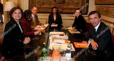 Stock Picture of The Palestinian General Delegate in France (l) Hind Khoury Speaks to French Foreign Affairs Minister Philippe Douste-blazy (r) During a Meeting at the Foreign Office in Paris On Wednesday 10 Mayl 2006