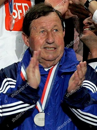 France Soccer Legendary Coach of Aj Auxerre Roux Guj (r) Celebrates the Victory in France Cup Final Match in Paris Saturday 04 June 2005 France's Longest-serving Manager Guy Roux is to Stand Down After 44 Years in Charge Club President Jean-claude Hamel Announced Today Sunday 05 June 2005
