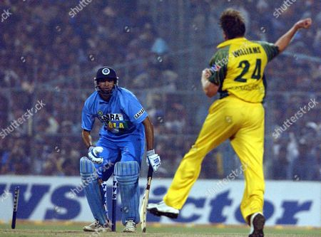 Austrila's Brad Williams After Bowled India's Vvs Laxman During the Tvs Cup Final Match at Calcutta On November 28 2003 Australia Have Won the Tvs Cup Tri-series Defeating Hosts India by 37 Runs at Eden Gardens Cricket Ground