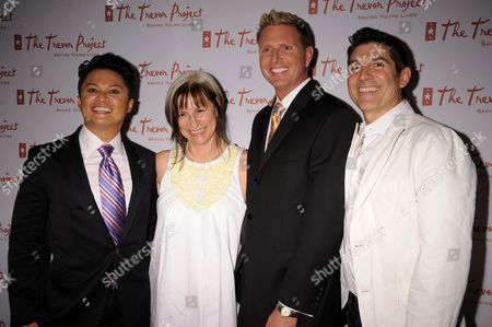 Alec Mapa, Trevor Project Co-Founder Peggy Rajski, Trevor Project Executive Director Charles Robbins and Trevor Project Co-Founder James Lecesne