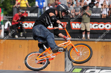 Steven McCann from Australia competes in the BMX park event