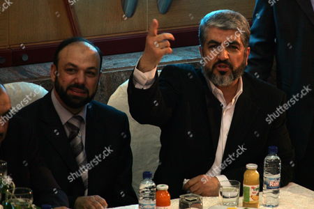 Hamas Political Leader Khaled Mashaal (r) and Hamas Representative in Yemen (l) Jamal Isa in Damascus Syria On 25 June 2009 Mashaal Addressed Some 200 Political Figures in the Syrian Capital and Said That His Organization Would Cooperate with All International Efforts to Bring an End to the Occupation in a Damascus Policy Speech Intended to Respond to Recent Addresses by Israeli Prime Minister Binyamin Netanyahu and Us President Barack Obama