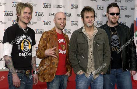 Rock Band Default Arrives On the Red Carpet at the Juno Music Awards in Winnipeg Canada Sunday 03 April 2005 From Left: Dave Benedict Jeremy Hora Dallas Smith and Danny Craig