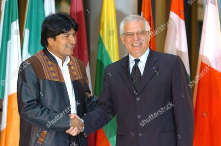 Josep Borrell (r) President of the European Parliament and Bolivia's President Juan Evo Morales Ayma Arrive at the European Parliament in Strasbourg Monday 15 May 2006