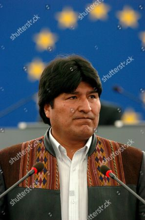 Bolivia's President Juan Evo Morales Ayma Speaks at the European Parliament in Strasbourg Monday 15 May 2006