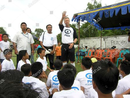 Former Newcastle United Soccer Player Warren Barton Trains with Children in the Village of Lhamlhon Aceh On 07 June 2005 Warren Came to Aceh For Soccer Training with Children Who Live in a Temporary Shelter After Their Homes Were Destroyed in the Tsunami Disaster End of 2004