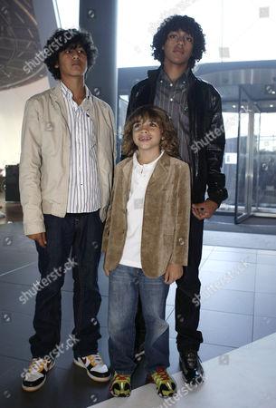 Boris Becker's sons Elias Balthazar Becker (c), Noah Gabriel (r) and friend (l)