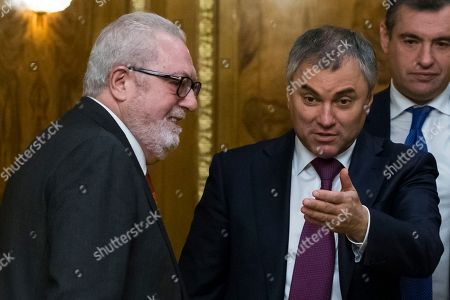 Vyacheslav Volodin, Pedro Agramunt Russian State Duma, Parliament, speaker Vyacheslav Volodin, right, welcomes the President of the Parliamentary Assembly of the Council of Europe Pedro Agramunt, left, for a meeting in Moscow, Russia