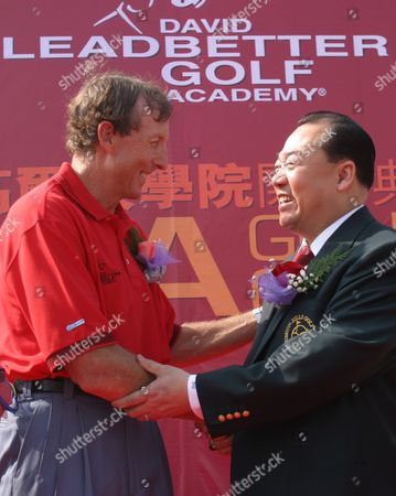 David Chu (r) Chairman of China's Mission Hills Golf Course Congratulates David Leadbetter the World's Leading Golf Instructor On Friday 14 November 2003 On the Launch of the Exclusive David Leadbetter Golf Academy in Shenzhen China