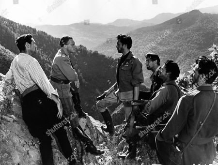 'I'll Met by Moonlight'   Film  - Major Paddy Leigh-Fermor 'Philidem' (Dirk Bogarde) and the German General Kreipe (Marius Goring),  'Billy' Moss (David Oxley), Andoni (Michael Gough), George (Wolfe Morris) and Manoli (Laurence Payne)