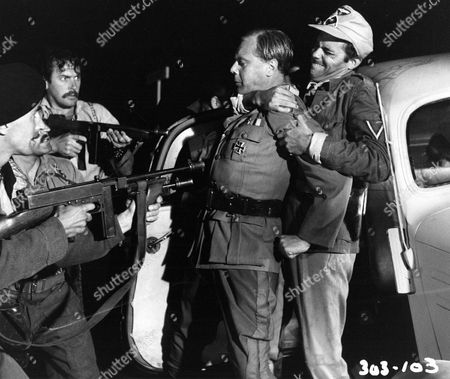 'I'll Met by Moonlight' Film - Major Paddy Leigh-Fermor 'Philidem' (Dirk Bogarde), Manoli (Laurence Payne),  George (Wolfe Morris) and Stratis (Brian Worth) ambush German General Kreipe (Marius Goring)