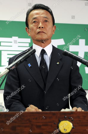 Japanese Prime Minister Taro Aso Speaks During His Last News Conference As President of the Ruling Liberal Democratic Party (ldp) at Party's Headquarters in Tokyo Japan 31 August 2009 Following the Historical Defeat in the Lower House Elections the Ruling Ldp Lost Power For Only the Second Time Since 1955 and Opposition Democratic Party of Japan (dpj) Led by Yukio Hatoyama Won a Landslide Victory in the General Election