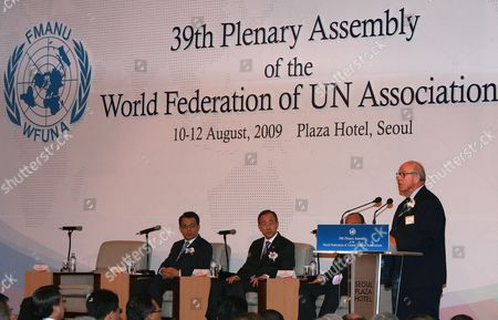Hans Blix President of World Federation of Un Associations Speaks During an Opening Ceremony of 39th Plenary Assembly World Federation of Un Associations in Seoul South Korea On 10 August 2009