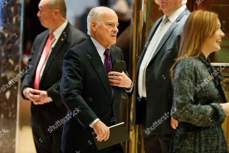 Henry Kravis, cofounder of private equity firm Kohlberg Kravis & Roberts, arrives in the lobby of Trump Tower in New York