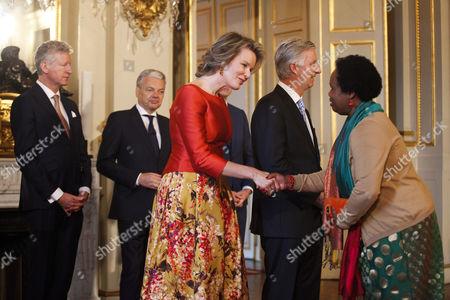 Pieter De Crem, Didier Reynders, Queen Mathilde and King Philippe of Belgium