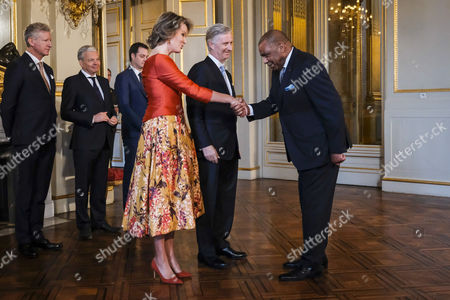 Pieter De Crem, Didier Reynders, Alexander De Croo, Queen Mathilde and King Philippe of Belgium