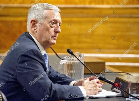 United States Marine Corps General James N. Mattis testifies before the US Senate Committee on Armed Services during his confirmation hearing to be Secretary of Defense